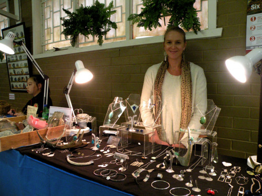 Rachel McCarthy displays her precious metal and stones jewellery.