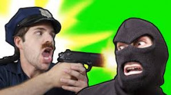 Cop apprehends robber.