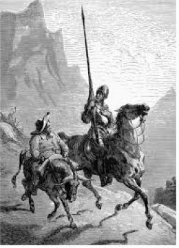 A drawing of Don Quixote de la Mancha and Sancho Panza (1863) by Gustave Dore.