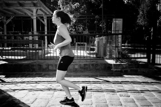 A woman on a routine morning jog.