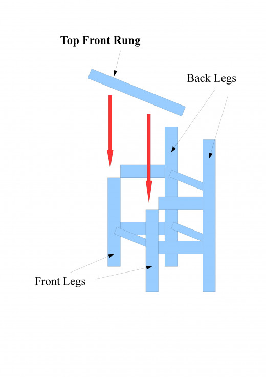 This diagram shows the placement of the top front rung.