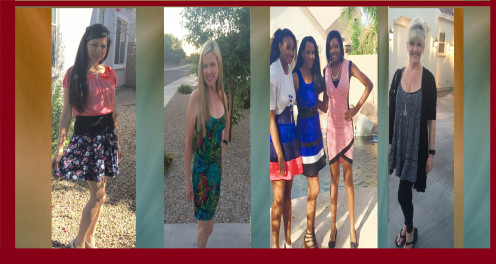 The perfect summer dresses worn by models. Sandra Q., Shelly, Jade, Lavy, Emunah, and Heidi.