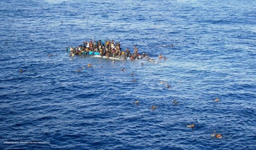 This is just one photo of refugees that cross the Mediterranean Sea in very poor boats that usually sink in the middle of the sea, so they usually end up crying for help to the Italian navy or any other sea worth boat that happen to be around them.