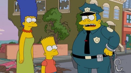 Wiggum tells Marge about the possible trouble that Bart caused.