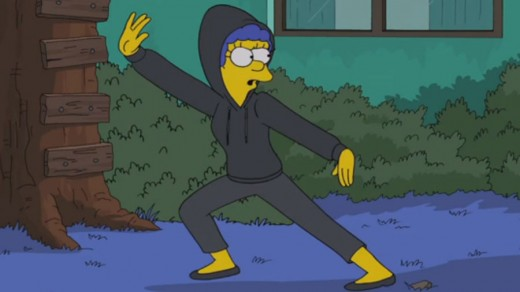 Marge knows Bart has snuck out of the house.