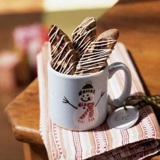 White chocolate coffee biscotti