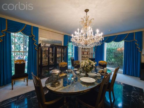 Elvis' dining room in his mansion in Graceland.