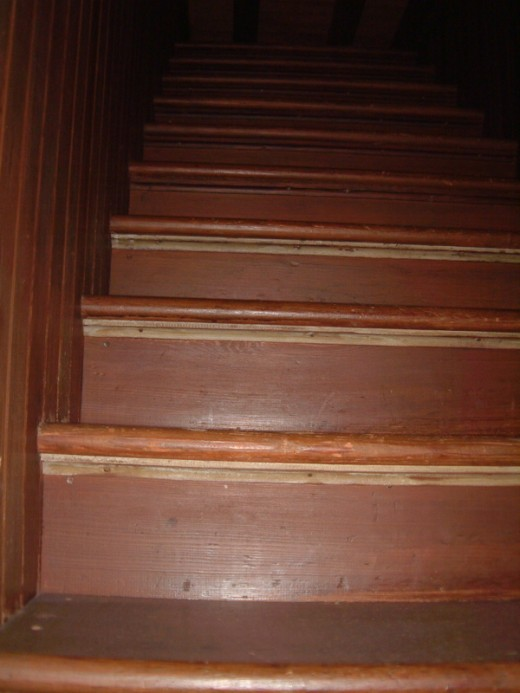 "The ""stairs to nowhere"" lead up to the ceiling."