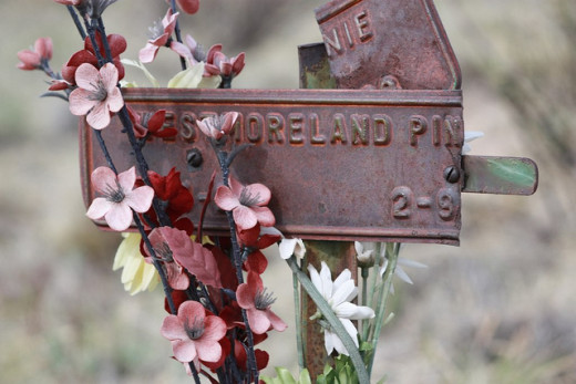 Close-up of inmate marker on Woodpecker Hill in Greenwood Cemetery in Canon City, Colorado.