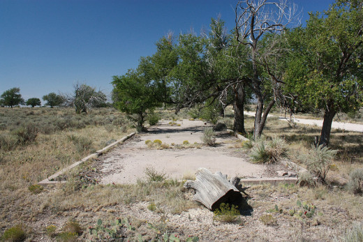 Cement slab, probably from living quarters, Amache Relocation Center near Granada, Colorado.