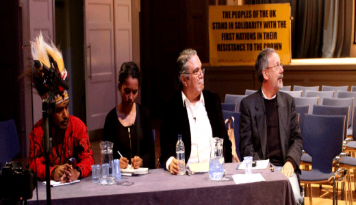 November 1, 2014 : Olin Tezcatlipoca ( 2nd from the  right) Giving a Lecture on White Supremacy at  Bishop's Gate Institute in London, England. (Follow the link to watch video)