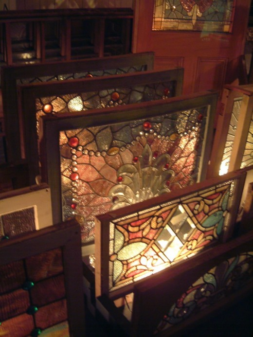 The $25,000 Storeroom, which now has become priceless for its stockpile of original Tiffany's stained glass windows.