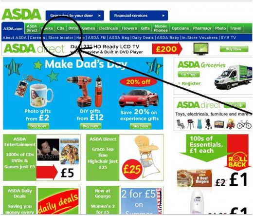 The store location button on the ASDA Walmart homepage