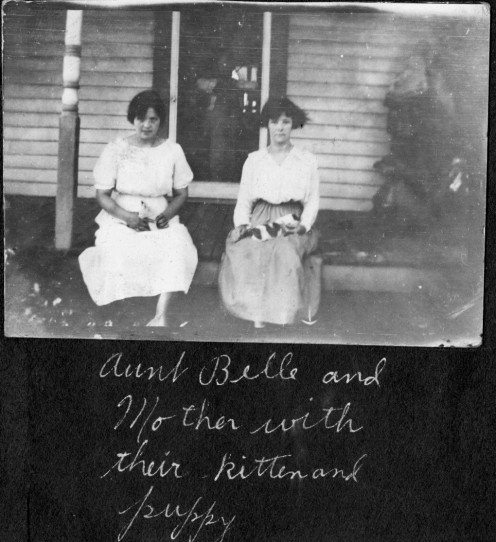 Ruth Vining in the white dress and her sister, Belle Vining.