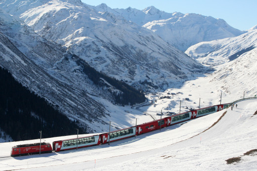 Glacier Express above Andermatt