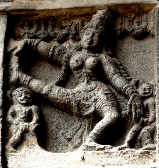 Posture of Bharatnatyam dance  on the east Gopuram of Nataraja temple 1