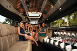 Inside a big limo used to take prom-goers to prom.