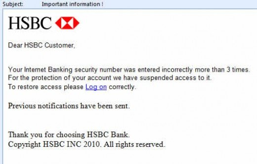 Figure 1: Phishing email leading the recipient to a phishing website (Source: M86 Security Labs 2008).