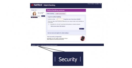 Figure 8:  Natwest customer log in pages (Source: Natwest 2013).