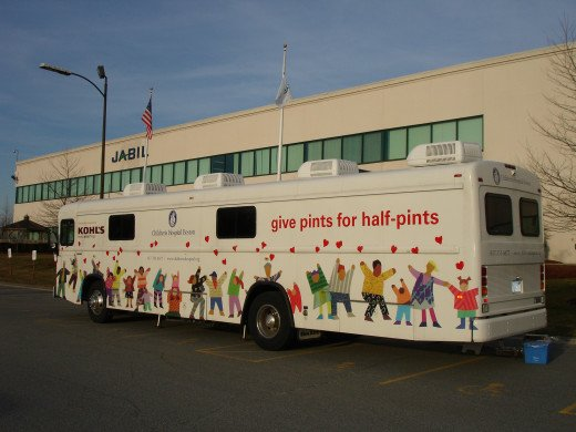 A blood collection bus (bloodmobile) from the Children's Hospital Boston at a manufacturing facility in Massachusetts - a mobile alternative to a Blood Bank.
