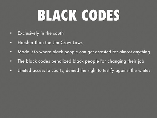 While no longer officially on any law books if you research the purpose of them and way they were carried out you'll agree that The Black Codes are still very much in play!