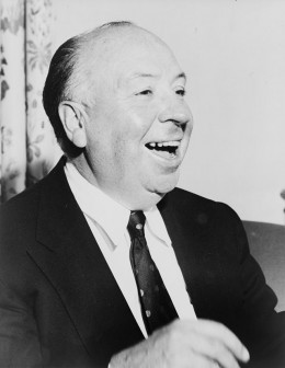 Alfred Hitchcock, head-and-shoulders portrait.