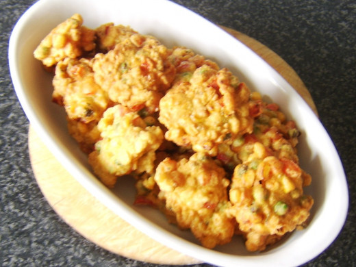Fritters were kept warm in ovenproof dish