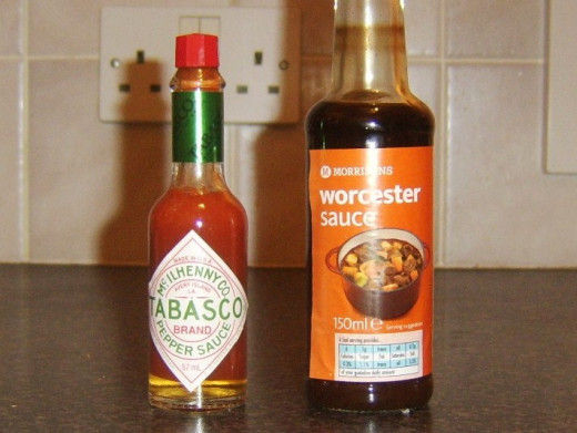 Tabasco and Worcester sauce