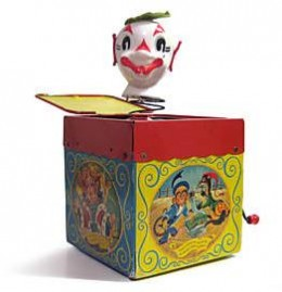 Vintage Mattel 1950's Jack in the Box – Jolly Tune the Clown.
