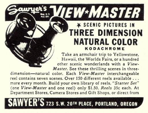 Early magazine ad for the View-Master. The early models were circular in shape and opened like a clamshell.