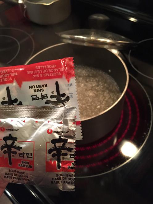 Add the soup base.