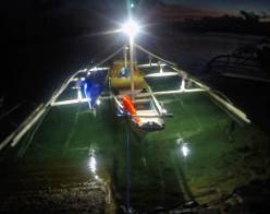 First Solar lit native fishing banca in Palawan, Philippines