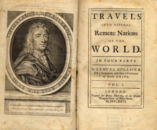 Title page for the original 1726 edition of Gulliver's Travels, written under one of Swif't's many pseudonyms, Lemuel Gulliver.