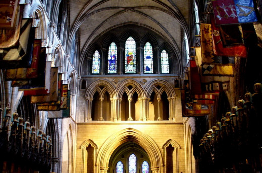 Interior of Dublin's St. Patrick's Cathedral, of which Swift was the dean from 1713 to 1745. The cathedral dates from 1191.