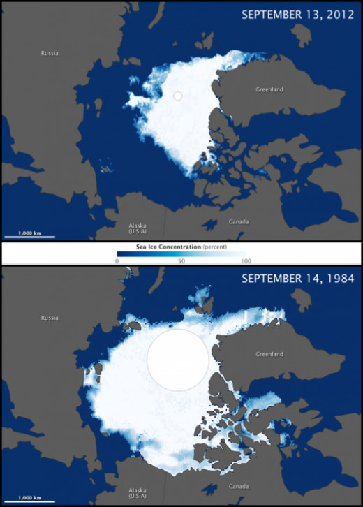 Sea ice in the Arctic, 1984 and 2012