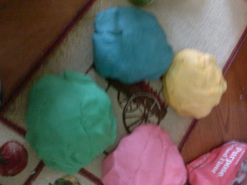 Each ball of dough makes 4 child size balls. This is 4 batches.