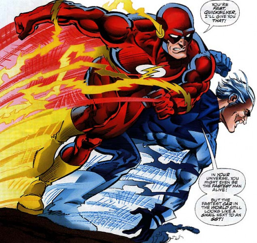 "In the DCU, Flash is faster.  It's nice to have something like the ""speed force"" giving you a power up."