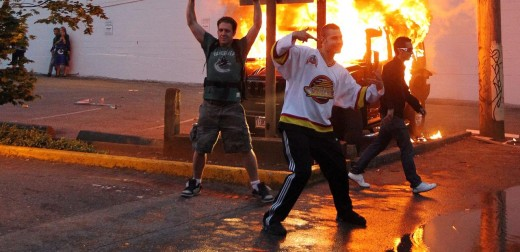 While many riots are over social injustice, not all of them are, such as this one that occurred in 2011 in Vancouver when the Canucks were out of the Stanely Cup final