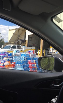 Photo of donations made to the volunteer fire department during the riots. My friend took this photo after she made her donation of water, snacks, and gum.