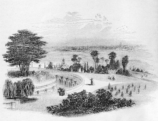 Engraving from Knight 176, showing the Western Cemetery as it was in the early 1840s. [Scan by JB.]