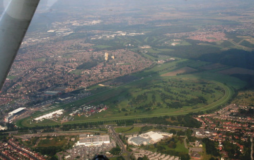 An aerial view of Doncaster Racecourse