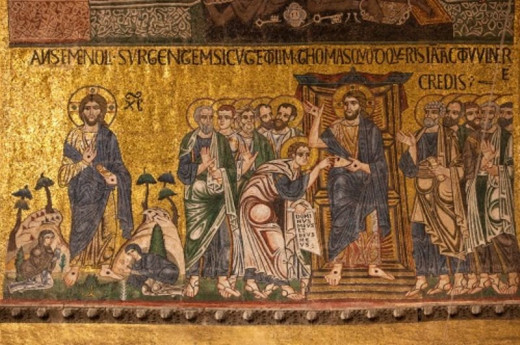 Risen Christ being seen by the women; the Christ being examined by a doubtful Thomas.