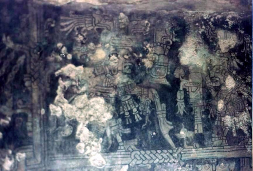 Segment of a Fresco in Temple of Frescoes, Tulum, Quintana Roo, photo taken in 1995