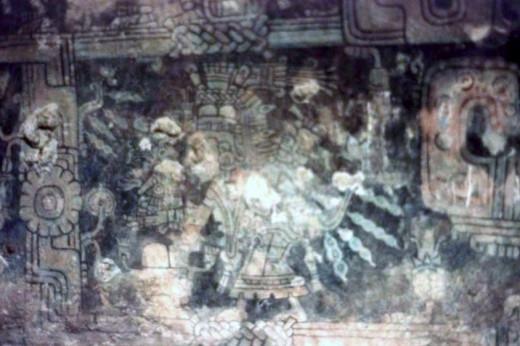 Fresco fragment, Temple of Frescoes, Tulum, Quintana Roo