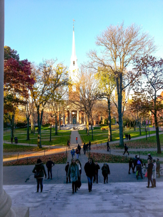 Memorial Church, as viewed from the steps of the Widener Library.