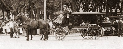 "Horse drawn hearse brings Villisca murder victims to their final resting place. The interment was memorialized as the ""funeral in the park""."