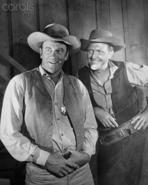 James Arness, left, with another Hollywood great, Robert Lansing.