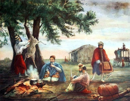 "Cooking over fire -""Posta de San Luis"" by Juan León Pallière (1823-1887)"