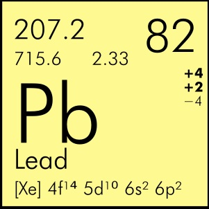 PB. The symbol for lead. Public domain.