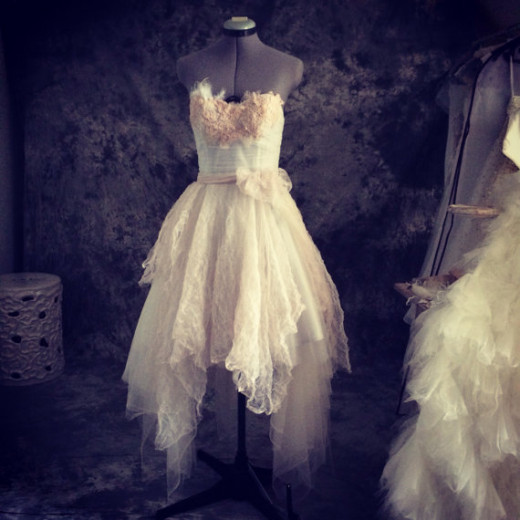 A fairy, ethereal dress in light pink and ivory